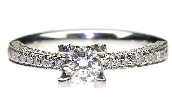18ct white gold 0.60ct diamond ring front view