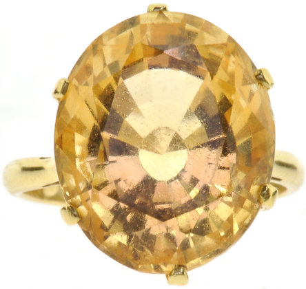 18ct yellow gold large citrine stone ring front view
