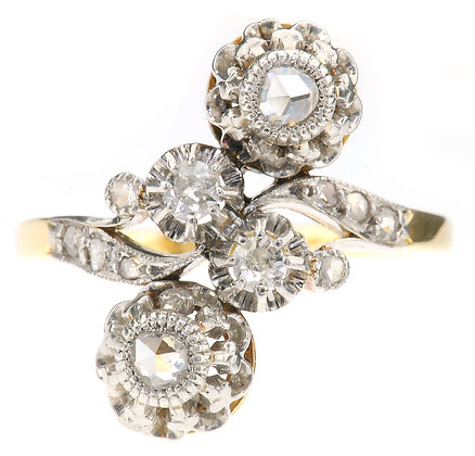 Antique gold diamond ring front view