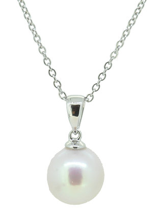 9ct White Gold 9mm Cultured Pearl Necklace