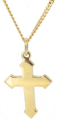Yellow Gold Gothic Cross Front View