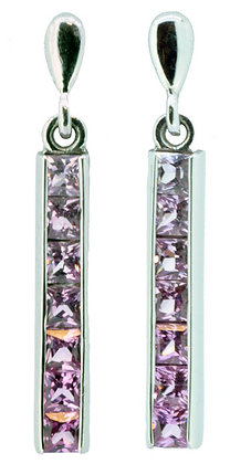 White Gold Pink Sapphire Drop Earrings