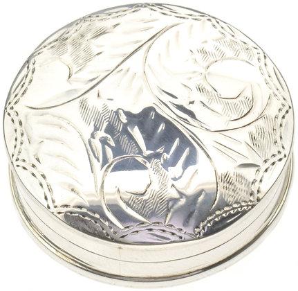 Round Silver Pill Box