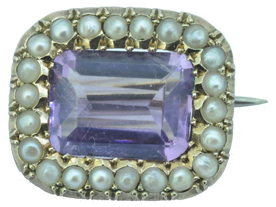 Yellow Gold Amethyst and Pearl Brooch