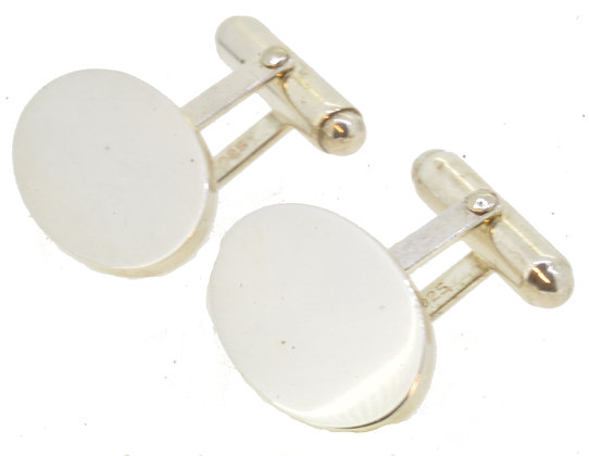 Sterling Silver Plain Cufflinks Front View