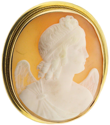Antique gold oval cameo brooch