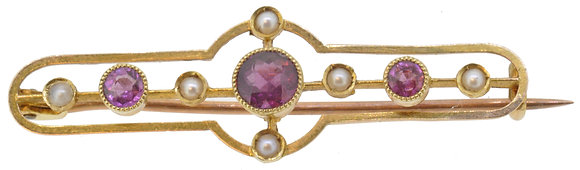 Antique 15ct Yellow Gold Garnet and Pearl Brooch