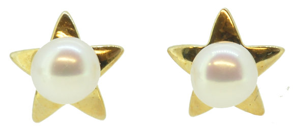 9ct Yellow Gold Star Pearl Stud Earrings