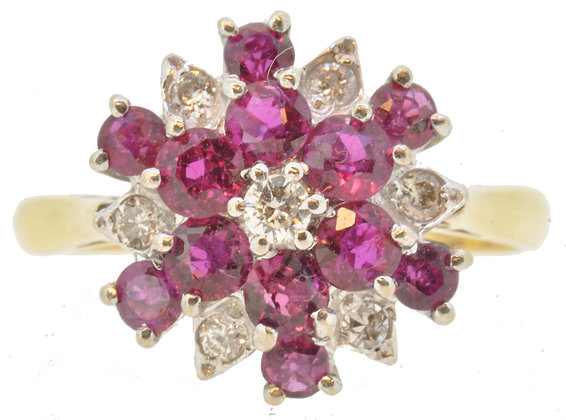 18ct yellow gold ruby and diamond cluster ring front view