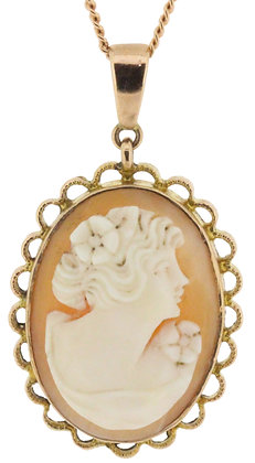 9ct rose gold cameo necklace