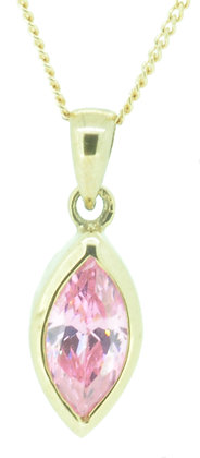 9ct yellow gold pink CZ necklace