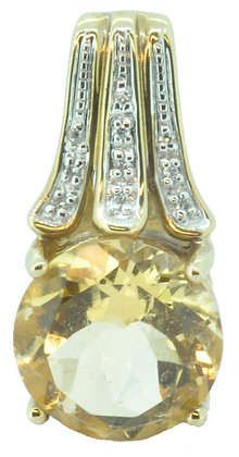 9ct yellow gold citrine and diamond pendant front view
