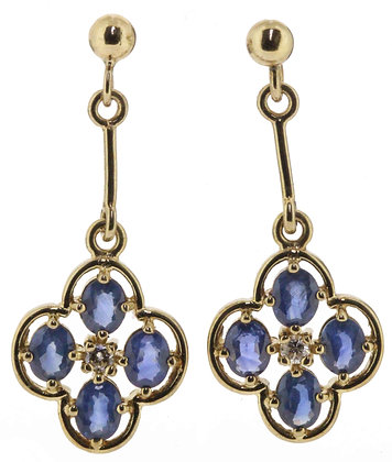9ct yellow gold sapphire and diamond drop earrings