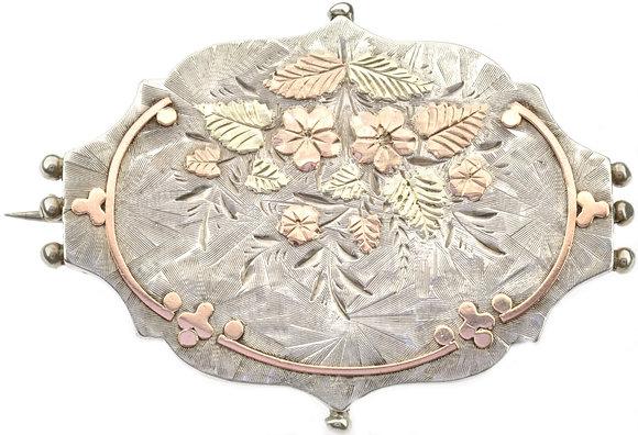 Antique Silver Floral Brooch
