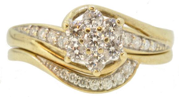 9ct Yellow Gold Diamond Cross-Over Set