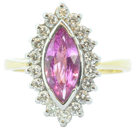 18ct yellow gold pink sapphire and diamond ring front view