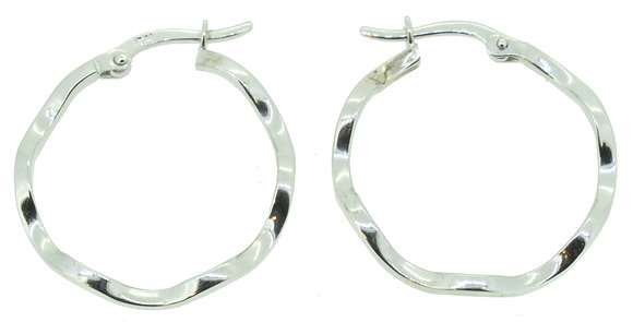 9ct White Gold Wavy Hoop Earrings