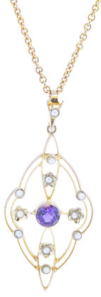 Antique 9ct Yellow Gold Amethyst & Pearl Necklace