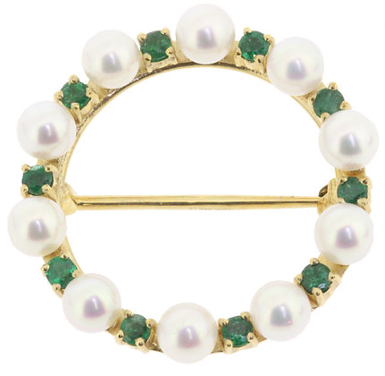 14ct yellow gold pearl and emerald circle brooch