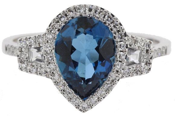 18ct White Gold Blue Topaz & Diamond Ring