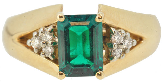 9ct Yellow Gold Synthetic Emerald & Diamond Ring