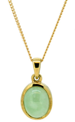 9ct yellow gold jade necklace