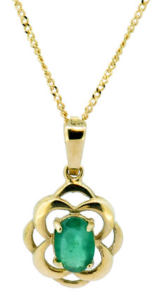 9ct yellow gold emerald necklace