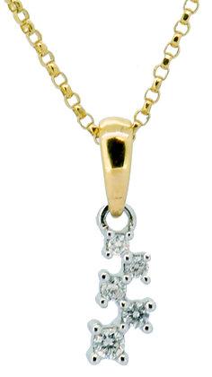 18ct yellow gold 5 stone diamond necklace