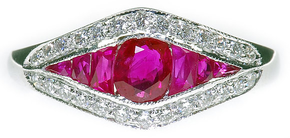 18ct white gold ruby and diamond ring front view