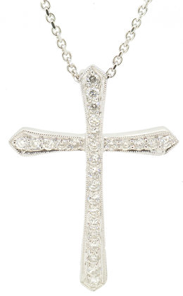 18ct white gold 0.50ct diamond cross necklace