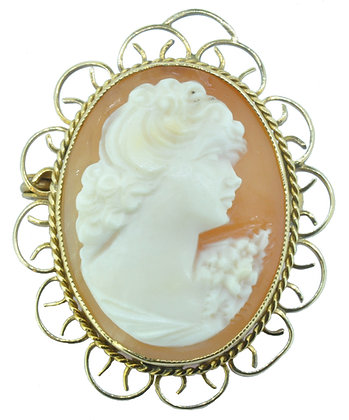 Yellow Gold Cameo Brooch