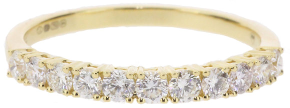 18ct yellow gold 0.52ct diamond half eternity ring front view