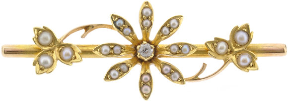 Antique 15ct gold pearl and diamond flower brooch front view