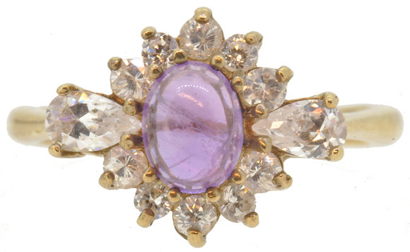 9ct yellow gold CZ and amethyst ring front view