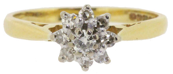 18ct Yellow Gold Diamond Ring Front