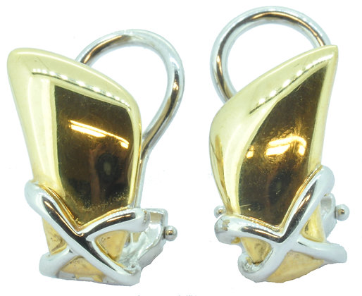 9ct gold two colour clip stud earrings
