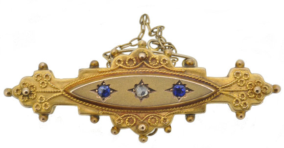 9ct yellow gold sapphire and diamond brooch front view