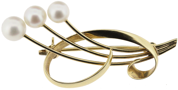 14ct yellow gold 3 pearl brooch
