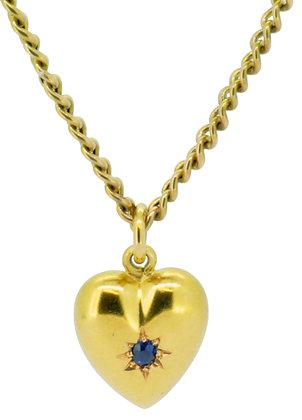 Antique 15ct yellow gold sapphire heart locket