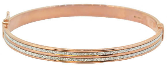 9ct rose gold sparkle bangle front view