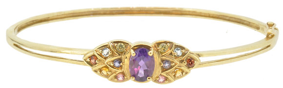 9ct yellow gold multi-stone cluster bangle front view