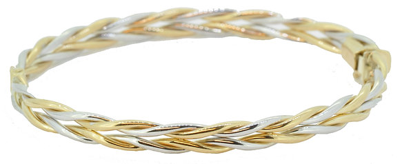 9ct gold two colour flat rope bangle front view