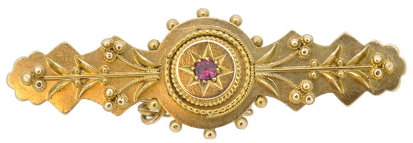 15ct yellow gold ruby brooch front view
