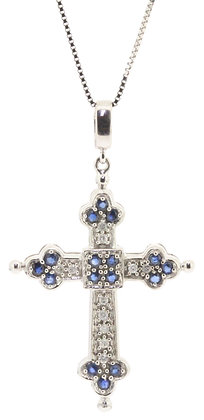 9ct white gold sapphire and diamond cross necklace