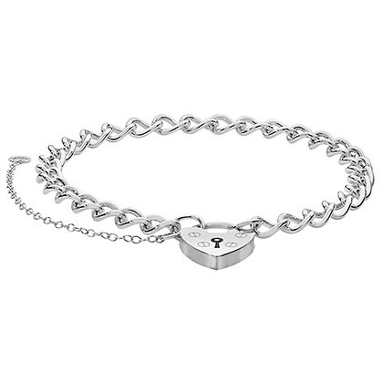 Silver Heart Padlock Charm Bracelet