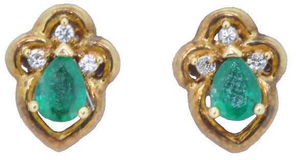 18ct yellow gold emerald and diamond stud earrings
