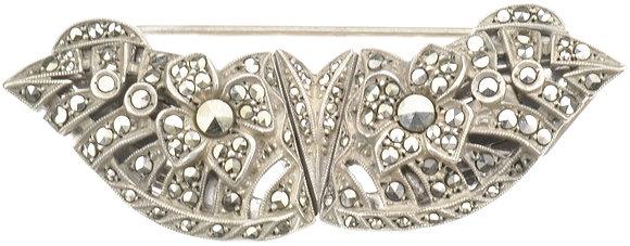 Vintage Silver Marcasite Collar Brooch
