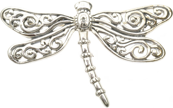 Silver dragonfly brooch front view