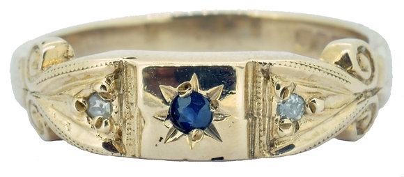 9ct yellow gold sapphire and diamond ring front view