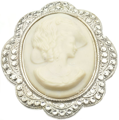 Vintage silver large opal cameo brooch front view